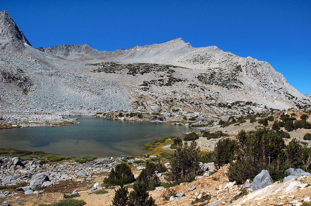 Looking back on Bishop Lake as I start the hike up to Bishop Pass.