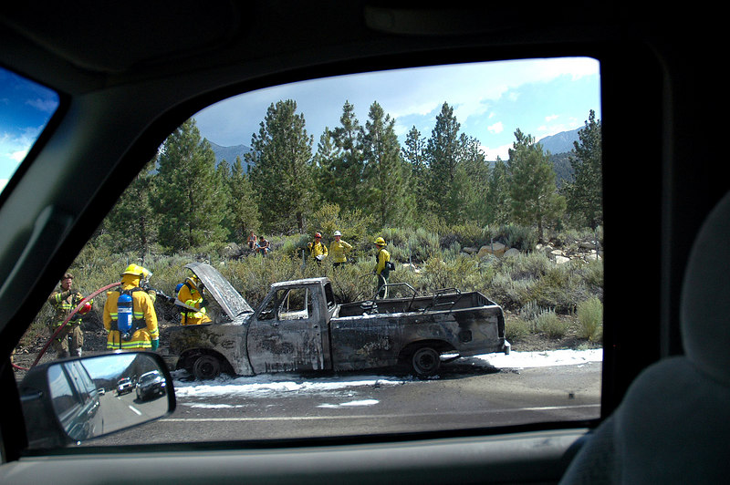 Someone is having a bad day. This is just past Mammoth on Hwy 395.