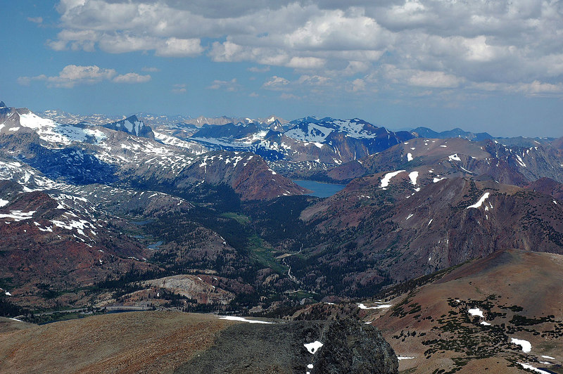 Zoomed in on Tioga and Saddlebag Lakes.