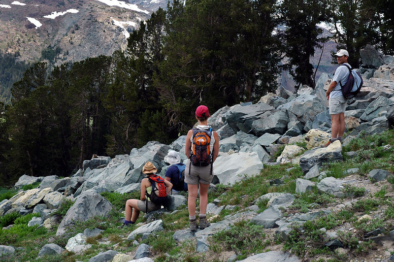 These folks from France were watching the marmots playing in the rocks.