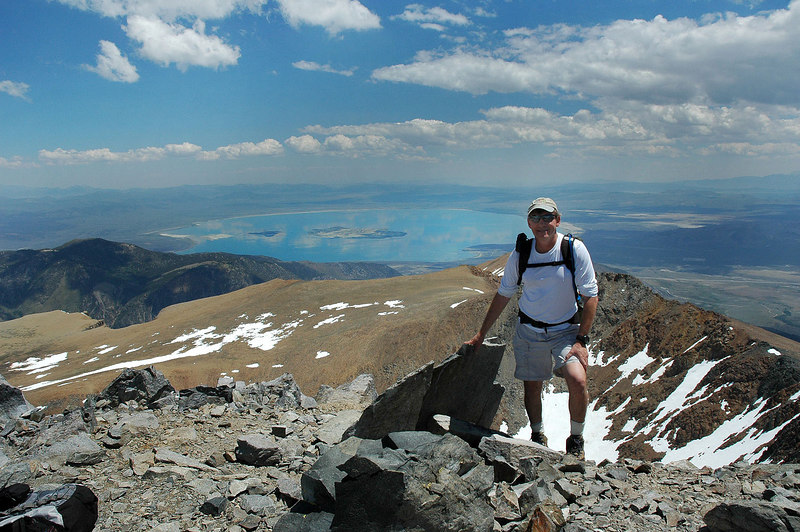 Me on the summit of Mount Dana at 13,057' with Mono Lake.
