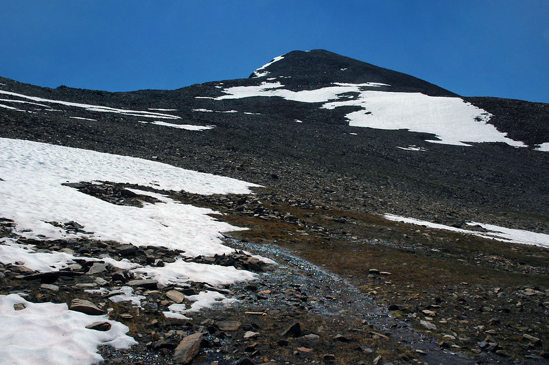 Looking up at the peak, decided to go around the snow on the left near the ridge line.