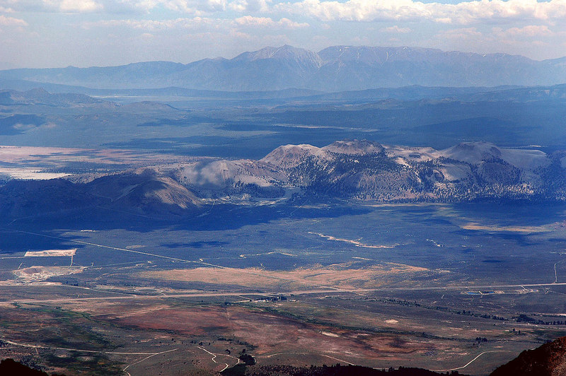 Zoomed in on the Mono Craters and Hwy 395 to the southeast. White Mountain in the distance.