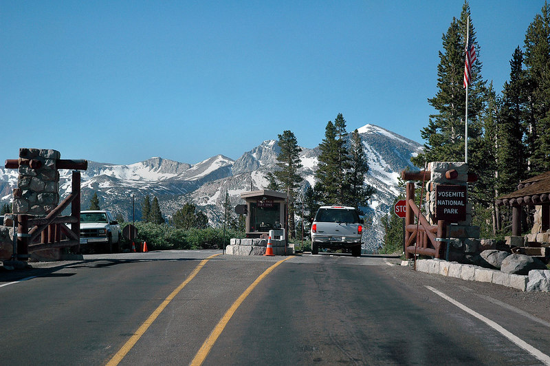 The Yosemite Park entrance at Tioga Pass. The hike to Mount Dana starts here at about 10,000'.