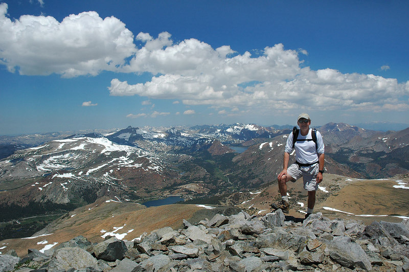Me again with a view to the northwest with Tioga and Saddlebag Lakes.