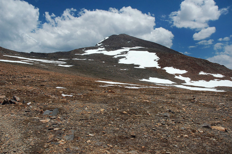 Last view of the peak till I reach the bottom, gets steep again past this spot.