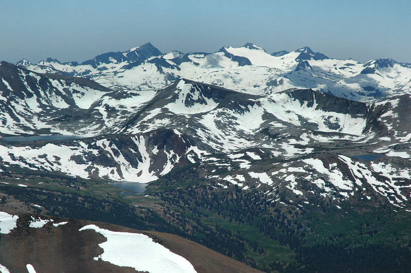Zoomed in on the Kuna Crest. Helen Lake on the left, Spillway Lake below it to the right and Bingaman Lake to the far right.