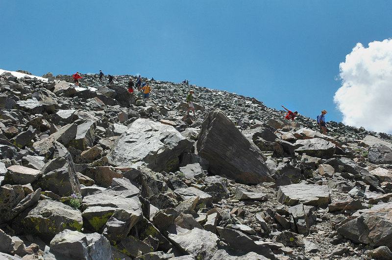 As I approached the summit this herd of people started down, good timing.