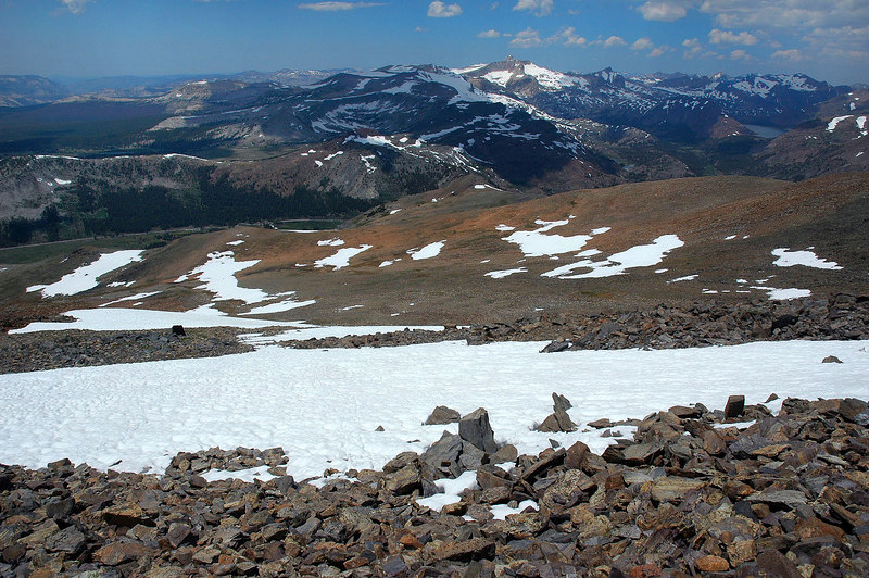 Above the highest snow patch.