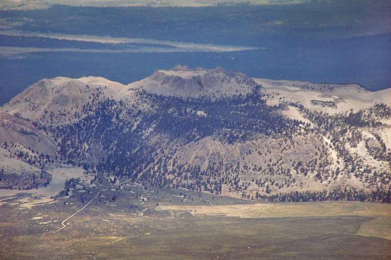 Zoomed in on Crater Mountain, you can see the road that leads to our camp site.