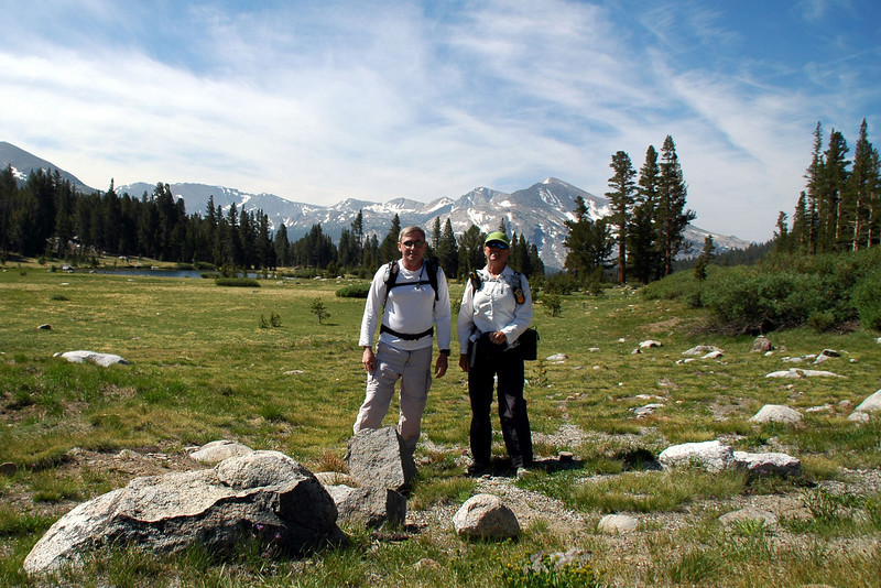 Joe(me) and Sooz at the start of the hike with Dana Meadows behind us.