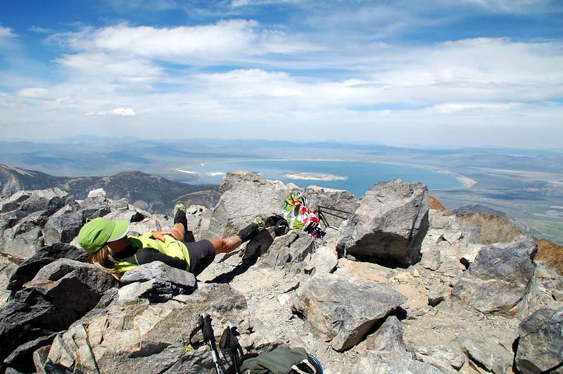 Sooz relaxing on the peak.
