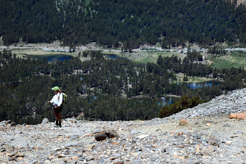 Sooz checking out the view with Tioga Pass down below.