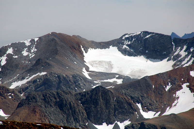 Zoomed in over the top of Mount Gibbs to Koip Peak at 12,962 feet and Kuna Peak 13,002 feet.