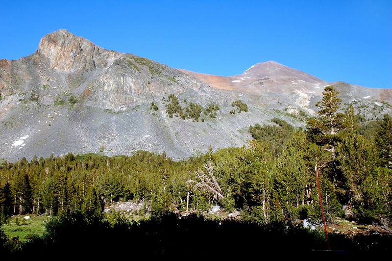 A view of Mount Dana on the right from Tioga Pass.