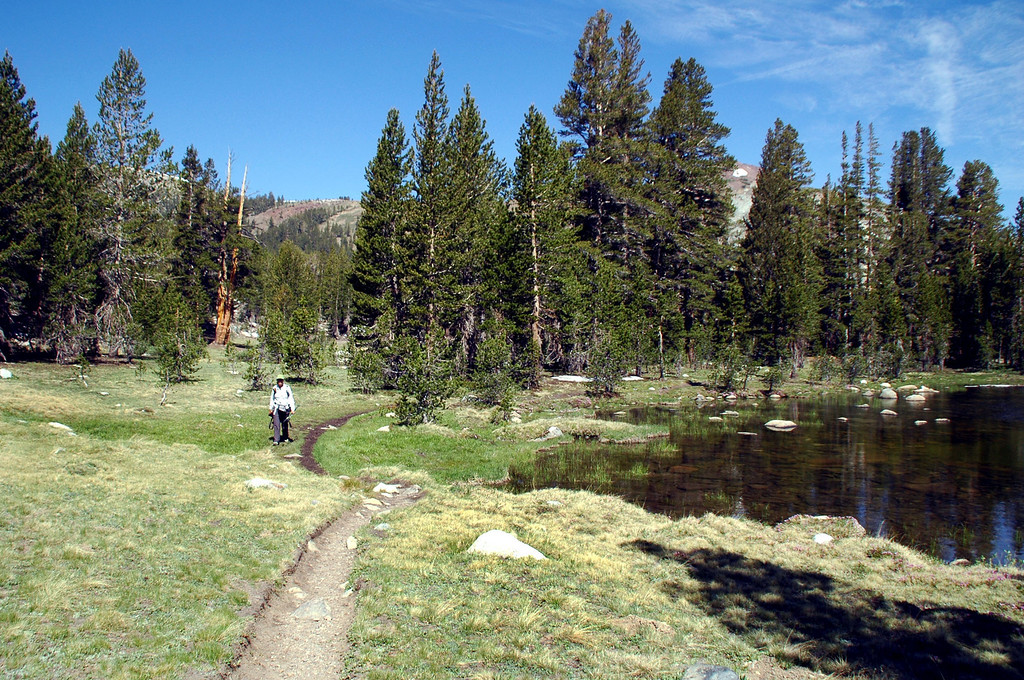 Sooz hiking along side another pond.