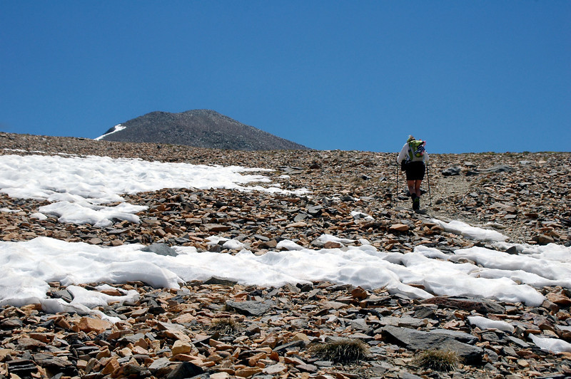 As we approach the flat area, Dana's summit comes into view.