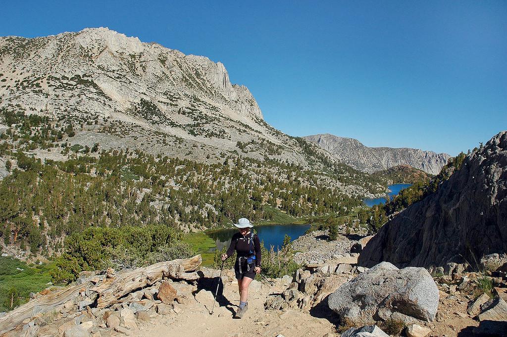 Kathy with Hurd Peak, Spearhead and Long Lakes..