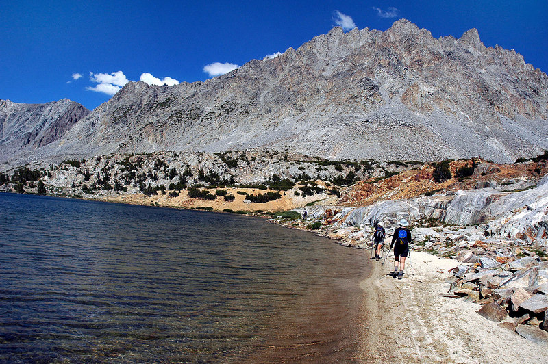 Down at Saddlerock Lake at 11,130'. We hiked around the edge of the lake to the main trail.