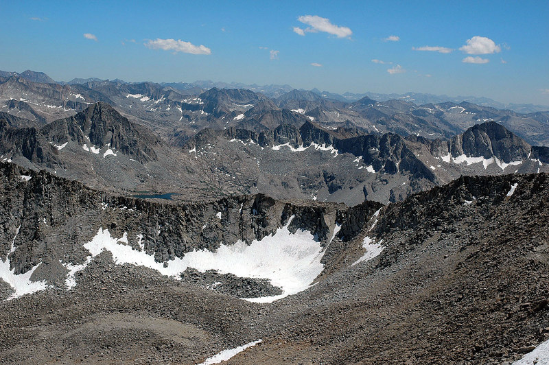 A view to the south, lot of peaks.