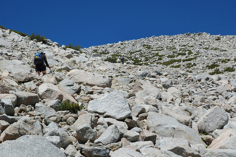 Jay and Kathy up ahead going through the rocks on the lower section.