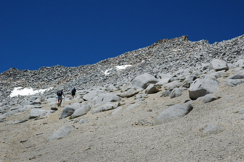 We are in the sandy section now, almost into the rocks. It's rocks from here to the summit.