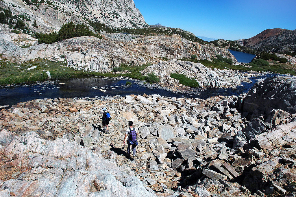 We decided to start the climb to the peak from the outlet to Bishop Lake.