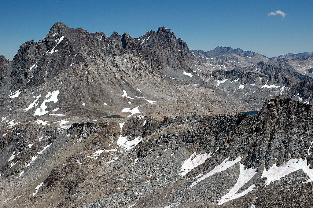 Mt Agassiz 13,893' on left and I think that's Thunderbolt Peak 14,003' on the right.