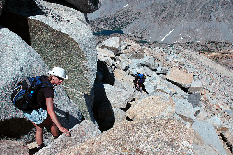 Starting our descent, back on the rocks. This shot is looking down the east ridge