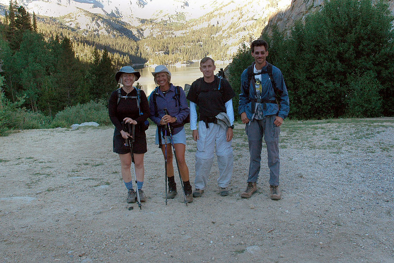 Kathy, Sooz, Joe (me) and Jay at the South Lake trailhead 9,800 feet. The plan for the day is to climb Mount Goode 13,092 feet from the Bishop Lake area.