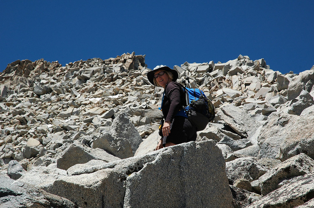Kathy on the rocks.