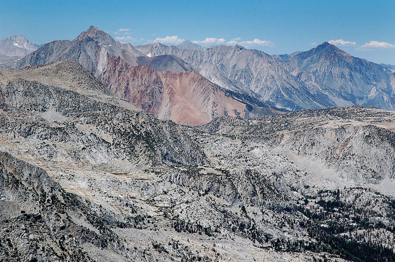 Zoomed in on Mt Humphreys on the left and Mt Tom on right. The red area near center is the Piute Crags.