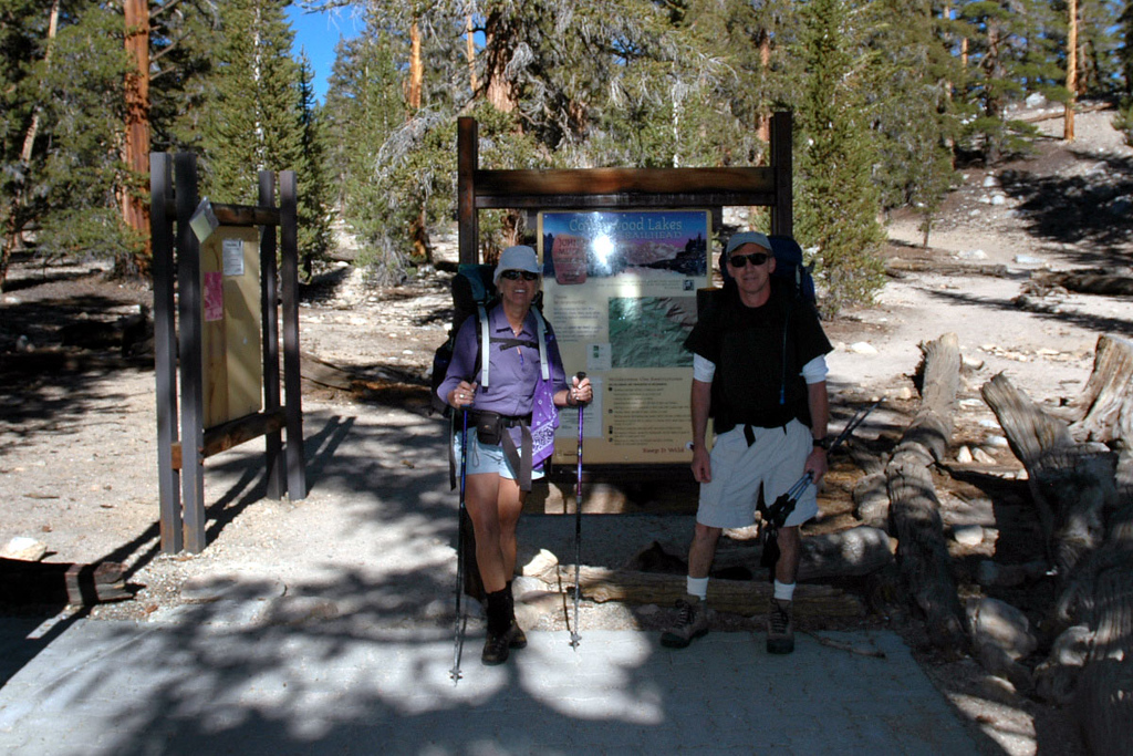 Sooz and Joe(me) at the Cottonwood Lakes Trailhead at Horseshoe Meadows at 10,000 feet.