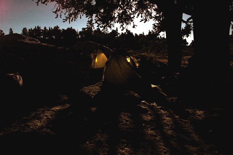 Moon light shot of our tents.