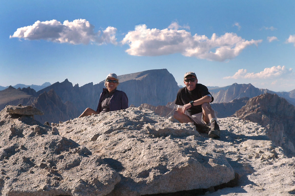 We made it, Sooz and me on Mount Langley at 14,042 feet with Mount Whitney in back.