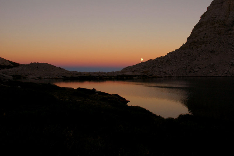 It was getting dark as we hike along the 4th Lake. This is looking east at the full moon rising.