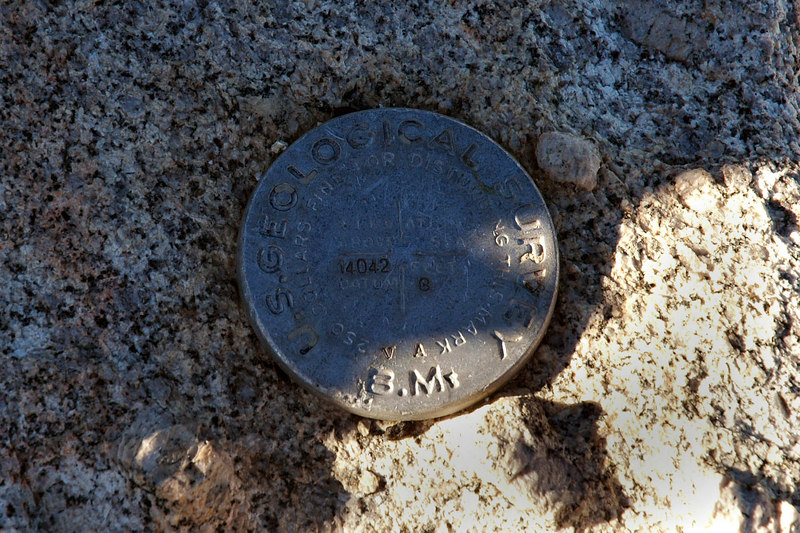 The summit marker, this one actually has the altitude on it.