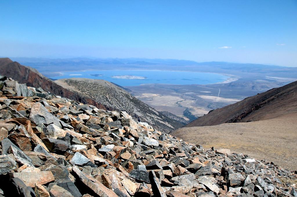 View of Mono Lake as I near the peak.