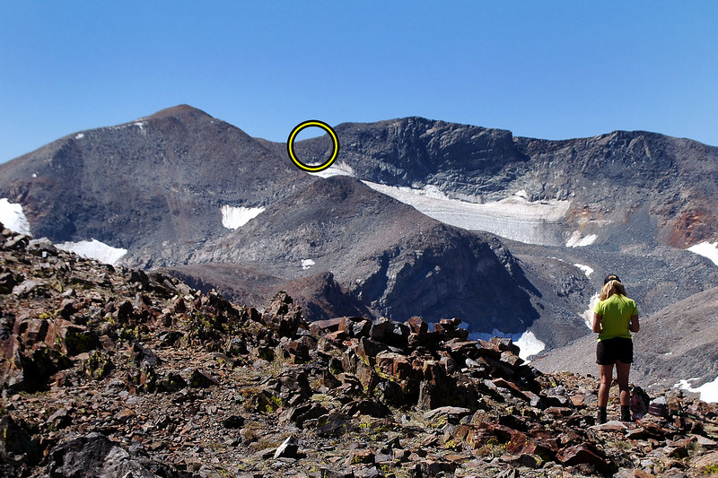From Lewis we got a view of Koip Peak (12,962') on the left and Kuna Peak (13,002') on the right and the saddle between that holds the crash site of the B-24E that we will be hiking to tomorrow.
