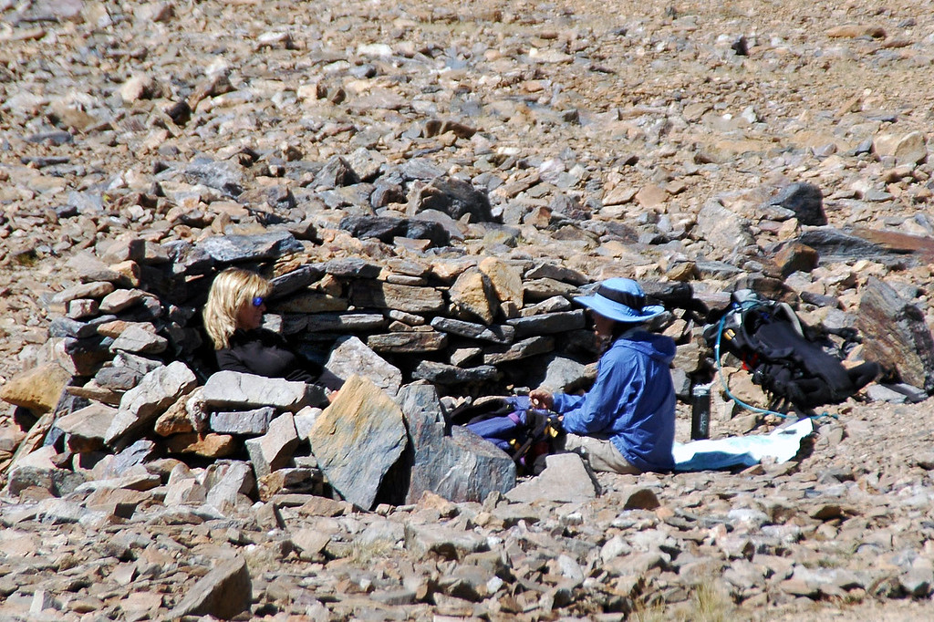 When I got to Koip Peak Pass at 12,200 feet, found Sooz and Cori taking a break in a rock shelter. The wind was blowing hard at the pass.