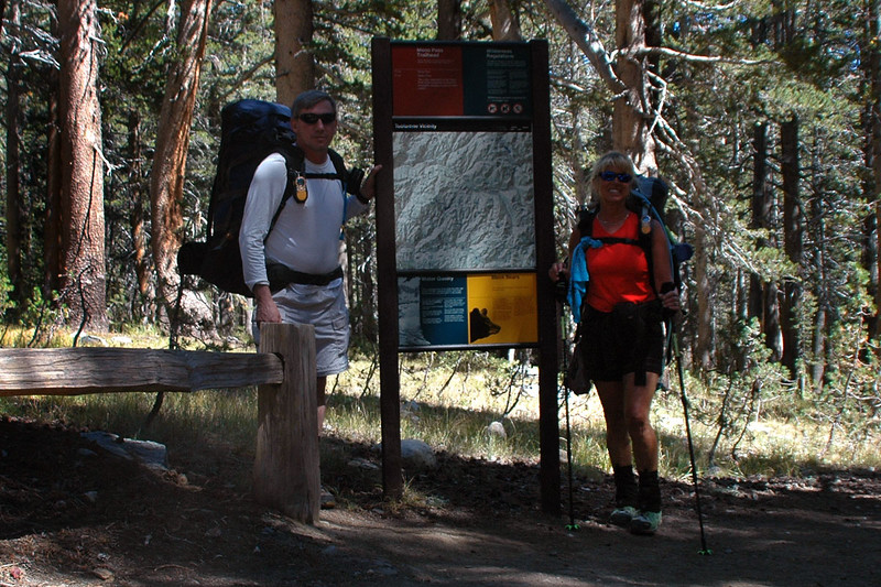 Me, Joe and Sooz at the Mono Pass Pass Trailhead at 9,700 feet. We plan to hike over Parker Pass and set up camp for the night. The others will be meeting us there tomorrow afternoon.