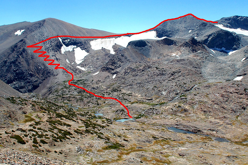 This shot shows the route we will use from our camp at the lake. Up the switchbacks on the side of Parker Peak, to Koip Peak Pass, then up over the top of Koip Peak and down to the crash site on the saddle.