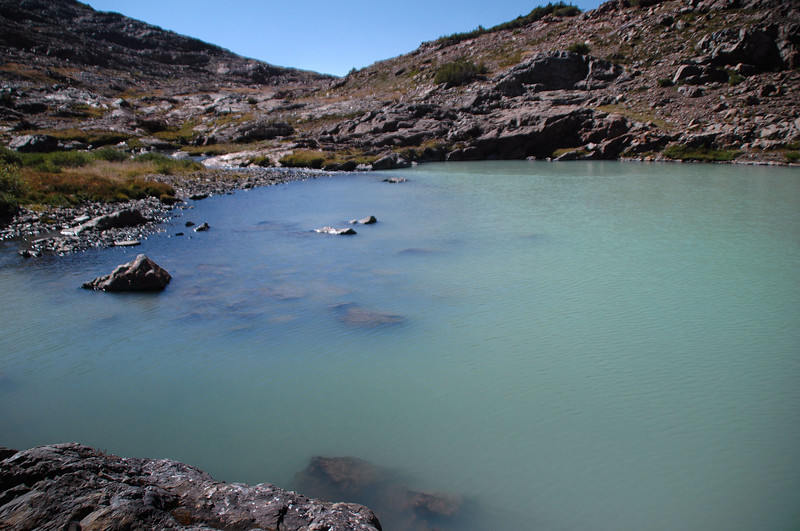 The lake had a great color cause by glacier melt water. This is the inlet side.
