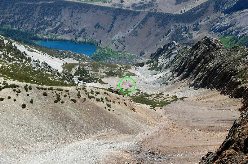It was easy to spot the C-47's wreckage from Mount Lewis. The crash site is about 2,000 feet below. Looks like it would be a fairly easy hike from Parker Lake. Will try it on another trip before the snows come to the area.