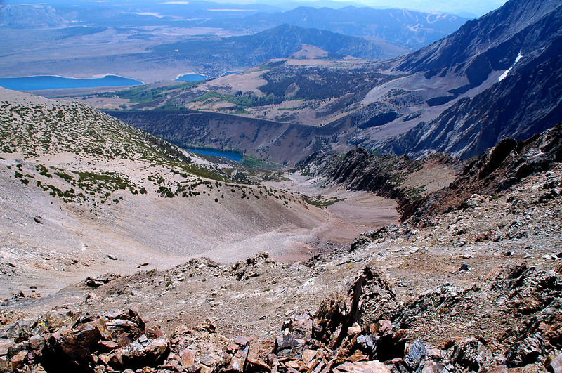 Looking down a canyon to Paker Lake. I was hoping to spot the wreckage of the C-47 #43-30676 that chashed above Parker Lake on 3/16/45.