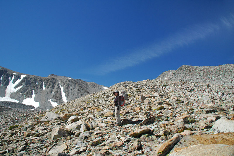 Kathy nearing the top of the ridge.