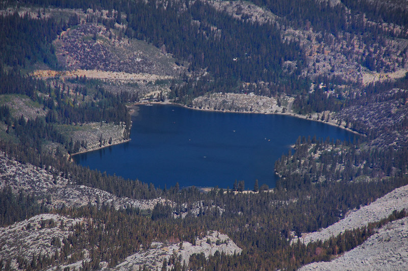 Zoomed in on Rock Creek Lake our starting point about 3,000' below. The white dots are boats.