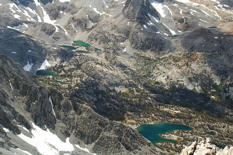 Looking down on what I think are Treasure, Gem and Chickenfoot Lakes.