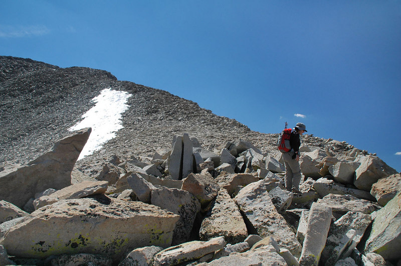 Starting up the northwest ridge from the saddle..