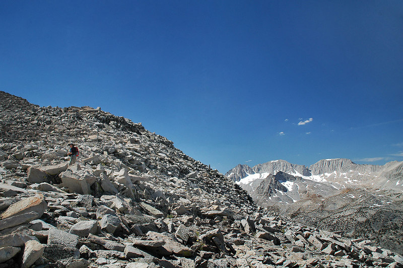 On the saddle at about 12,500'. From here we'll follow Morgan's northwest ridge to the summit.